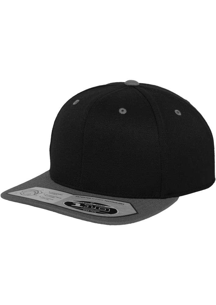 Premium Snapback Cap 110 Schwarz/Grau 6 panneaux, ajustable