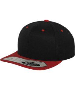 Premium Snapback Cap 110 Schwarz/Rot 6 panneaux, ajustable