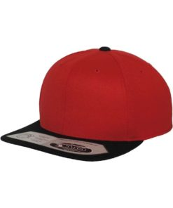 Premium Snapback Cap 110 rot/schwarz 6 panneaux, ajustable