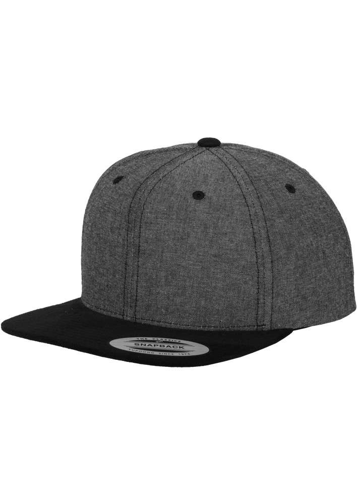Premium Snapback Cap Grau/Wildleder Schwarz 6 panneaux, ajustable