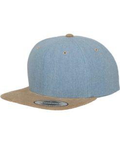 Premium Snapback Cap Blau/Wildleder Beige 6 panneaux, ajustable
