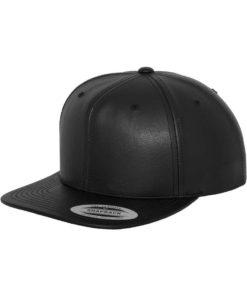 Snapback Cap komplett Kunstleder Schwarz 6 panneaux, ajustable