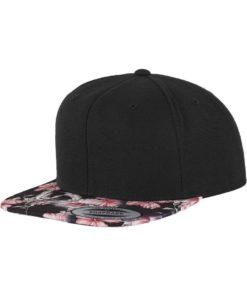 Snapback Cap Floral Pink 6 panneaux, ajustable