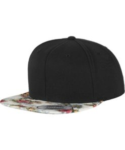 Snapback Cap schwarz/floral, ajustable