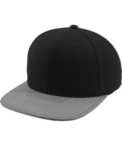 Snapback Cap Schwarz/Reflektorschild 6 panneaux, ajustable