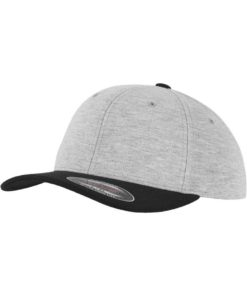 Flexfit Cap Double Strickjersey Graumeliert/Schwarz - Fitted