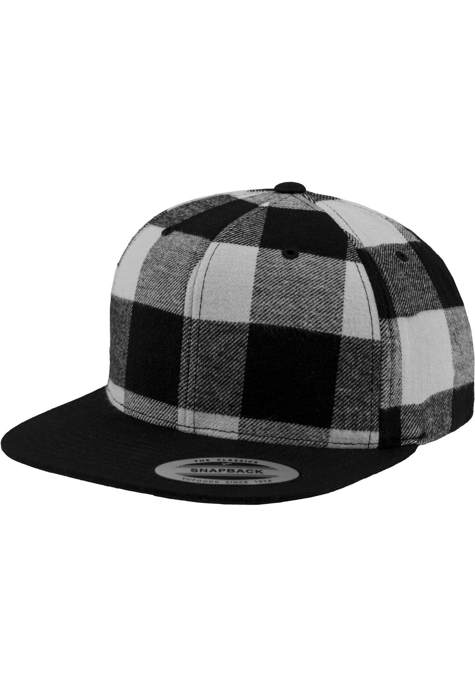 Premium Snapback Cap Flanell Schwarz/Weiss 6 panneaux, ajustable