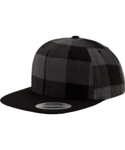 Premium Snapback Cap Flanell Schwarz/Grau 6 panneaux, ajustable