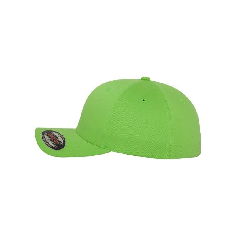 Flexfit Cap Giftgrün Wollmischung 6 PANNEAUX - Fitted Seitenansicht links