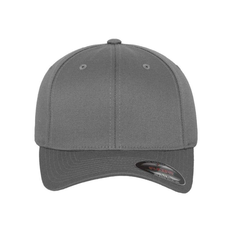 Flexfit Cap Grau Wollmischung 6 PANNEAUX - Fitted Ansicht vorne