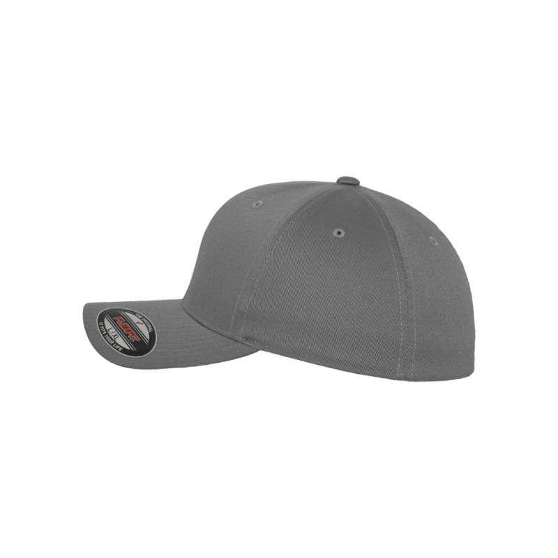 Flexfit Cap Grau Wollmischung 6 PANNEAUX - Fitted Seitenansicht links