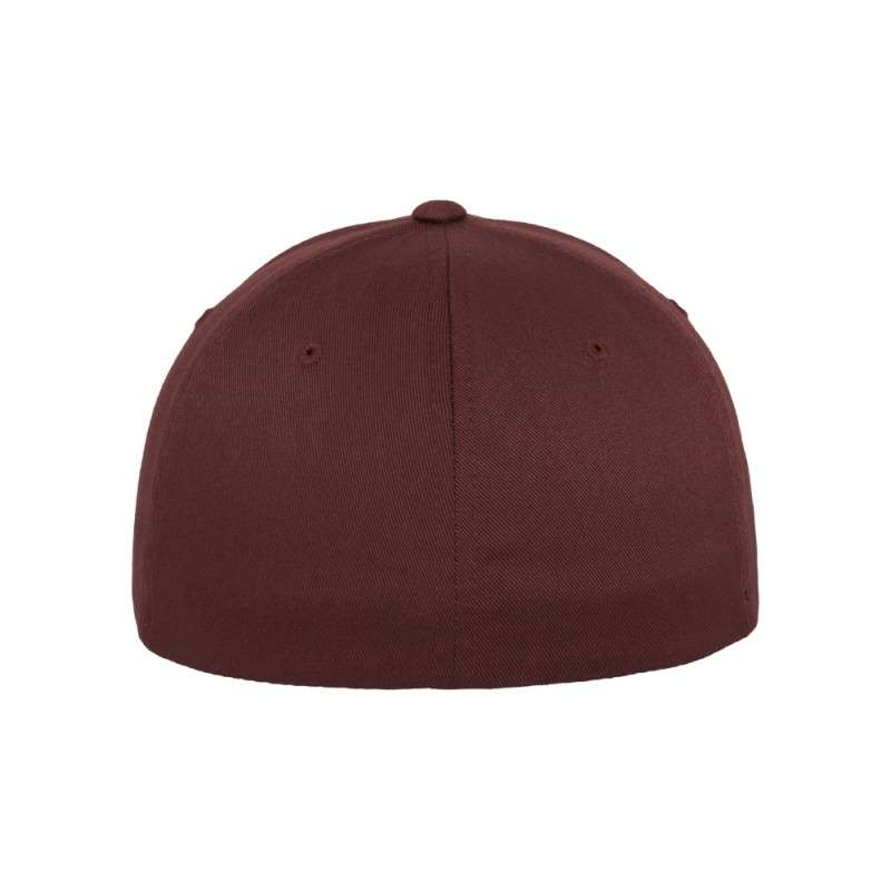 Flexfit Cap Marroon/Kastanie Wooly Combed - Fitted Ansicht hinten