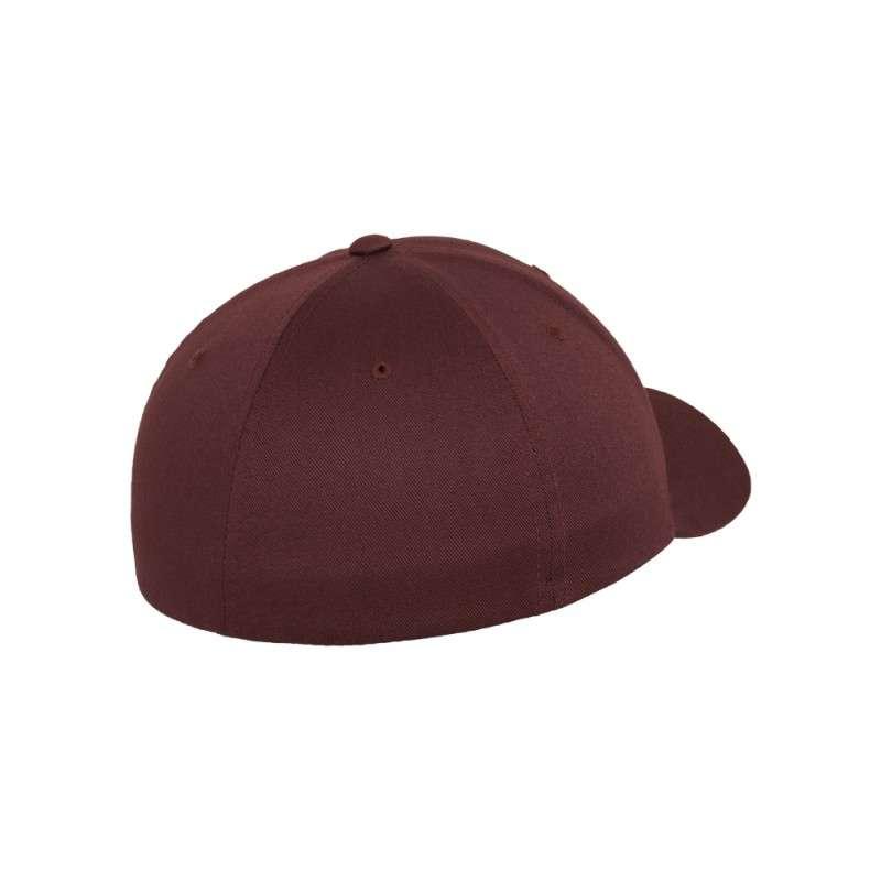 Flexfit Cap Marroon/Kastanie Wooly Combed - Fitted Seitenansicht hinten