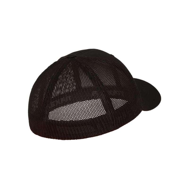 Flexfit Cap Mesh Trucker schwarz - Fitted Seitenansicht hinten