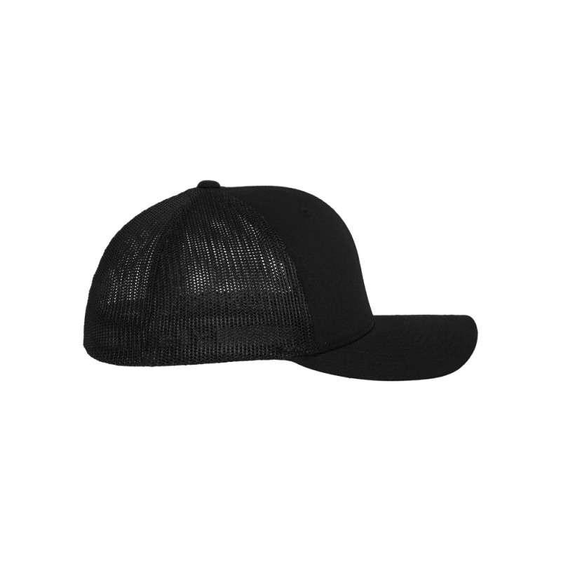 Flexfit Cap Mesh Trucker schwarz - Fitted Seitenansicht rechts