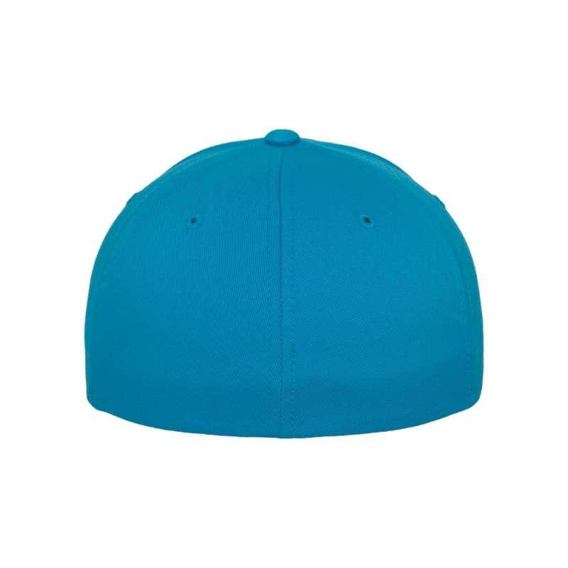 Flexfit Cap Ozeanblau Wooly Combed flauschig gekämmt Fitted hintere Ansicht
