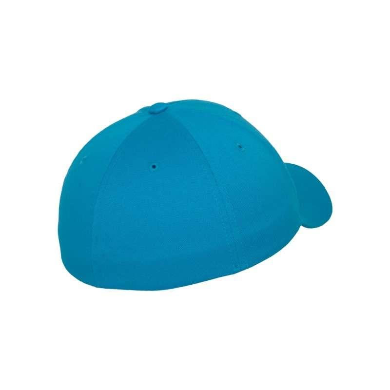 Flexfit Cap Ozeanblau Wooly Combed / flauschig gekämmt - Fitted Seitenansicht hinten