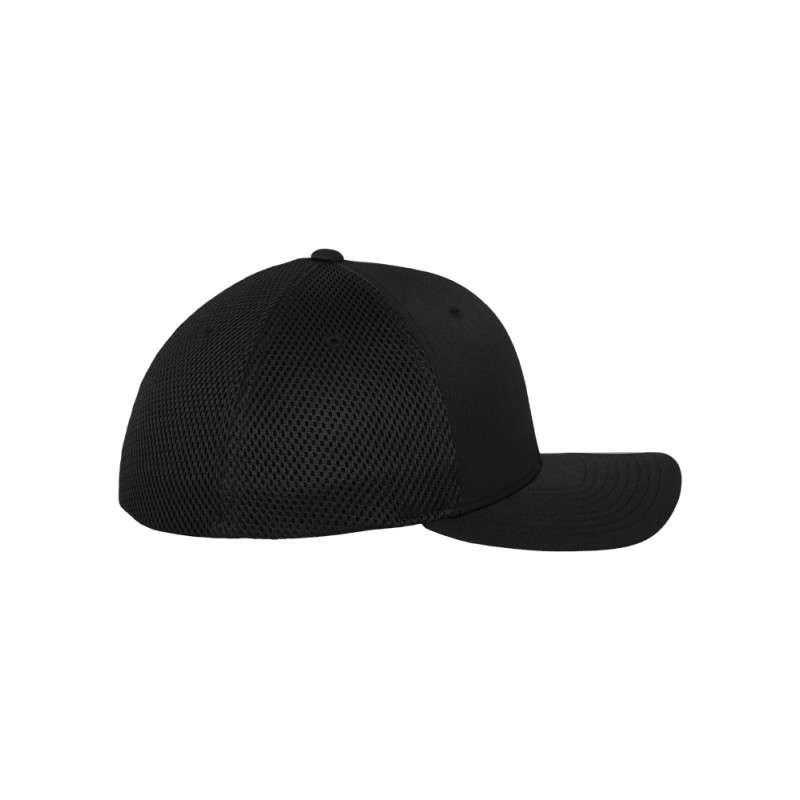 Flexfit Cap Schwarz Tactel Atmungsaktiv - Fitted Seitenansicht rechts