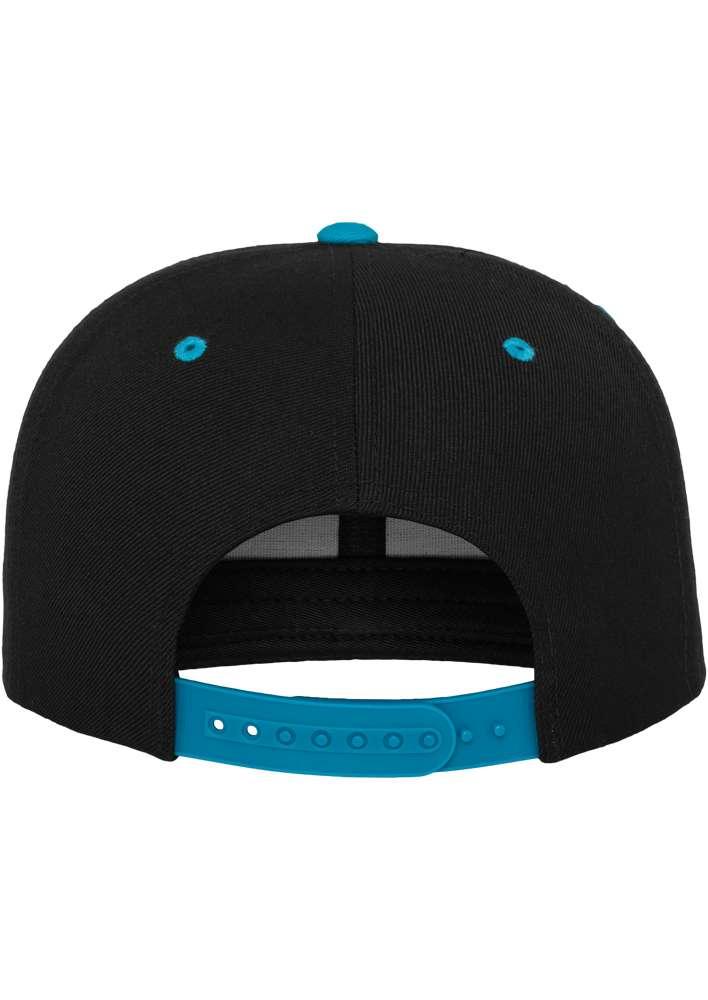 Snapback Cap Classic Schwarz/Türkis 6 PANNEAUX – verstellbar Ansicht hinten