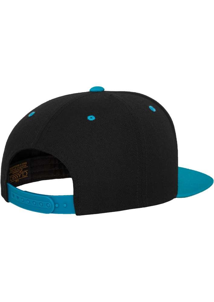 Snapback Cap Classic Schwarz/Türkis 6 PANNEAUX – verstellbar Seitenansicht hinten