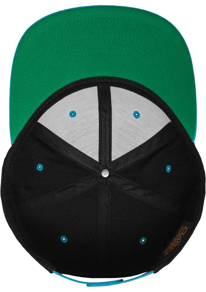 Snapback Cap Classic Schwarz/Türkis 6 PANNEAUX – verstellbar Schild