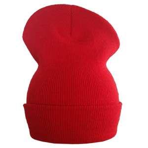 Lange Beanie Wollmütze rot