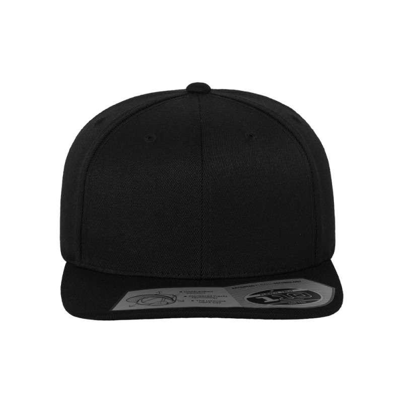 Premium Snapback Cap 110 Schwarz 6 panneaux, ajustable Ansicht vorne