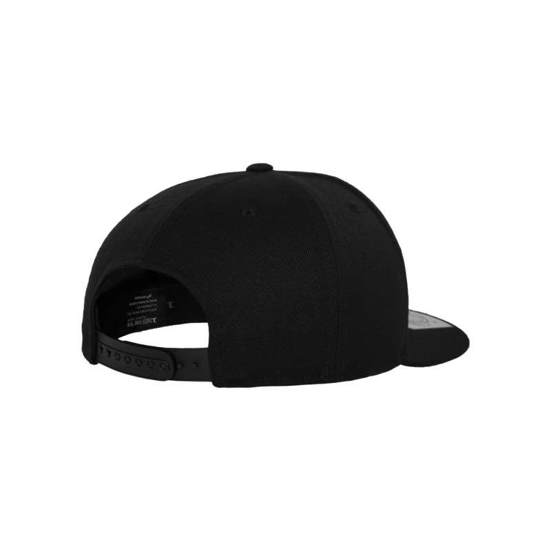 Premium Snapback Cap 110 Schwarz 6 panneaux, ajustable Seitenansicht hinten