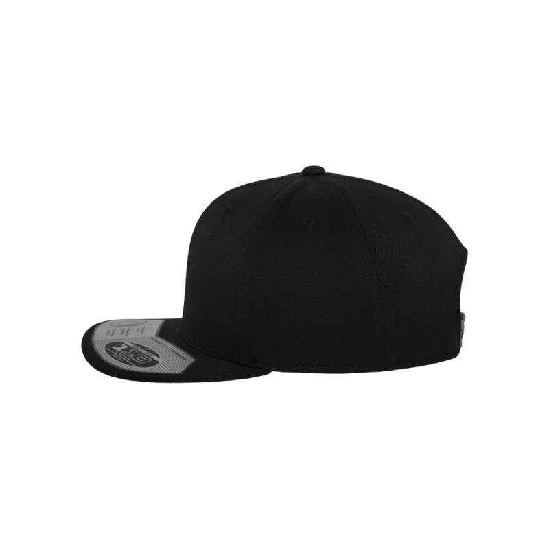 Premium Snapback Cap 110 Schwarz 6 panneaux, ajustable Seitenansicht links