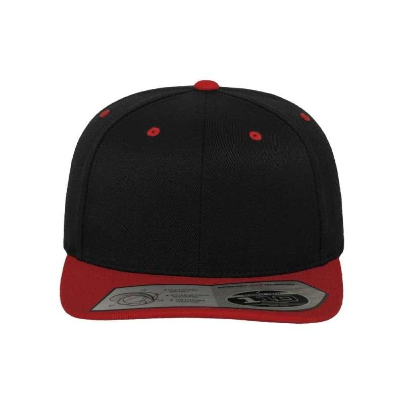 Premium Snapback Cap 110 Schwarz/Rot 6 panneaux, ajustable Ansicht vorne