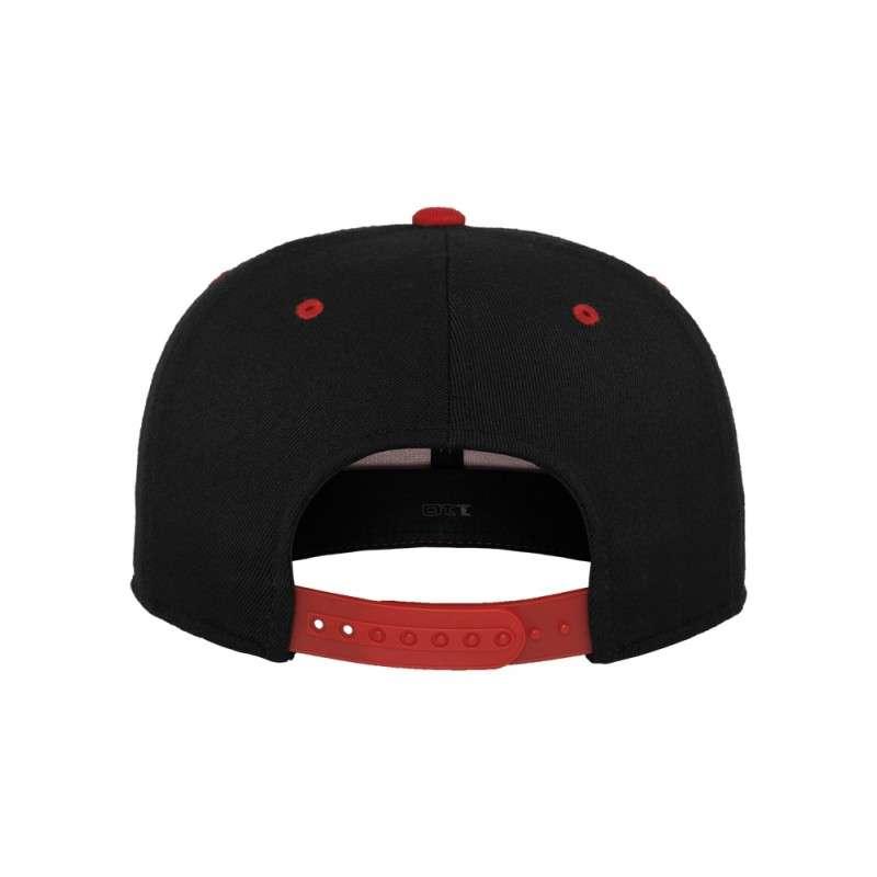 Premium Snapback Cap 110 Schwarz/Rot 6 panneaux, ajustable Ansicht hinten