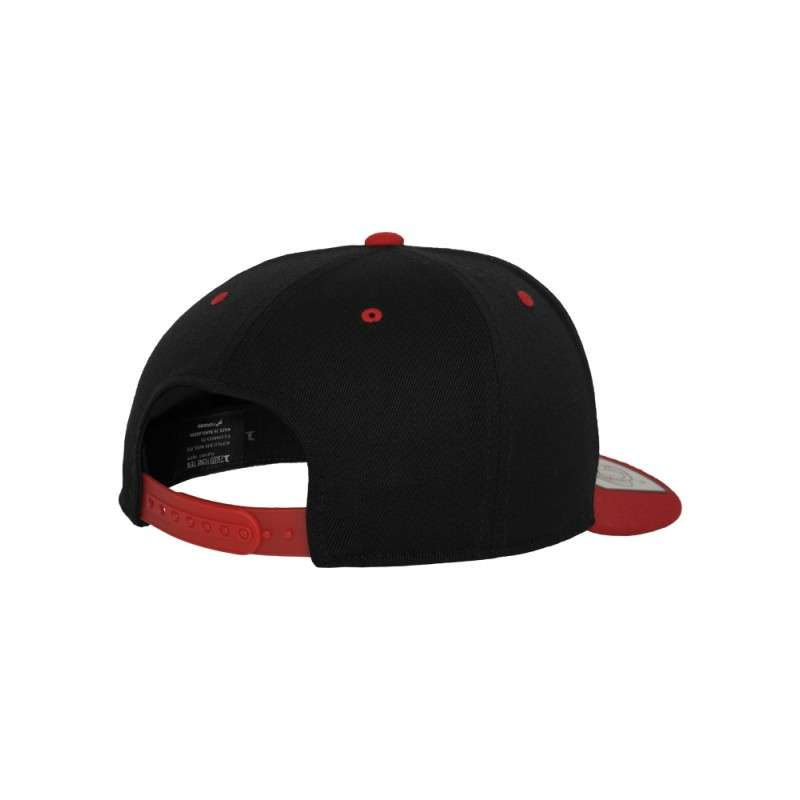 Premium Snapback Cap 110 Schwarz/Rot 6 panneaux, ajustable Seitenansicht hinten