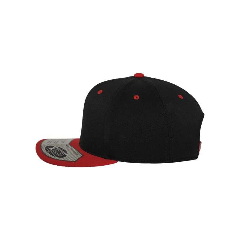 Premium Snapback Cap 110 Schwarz/Rot 6 panneaux, ajustable Seitenansicht links