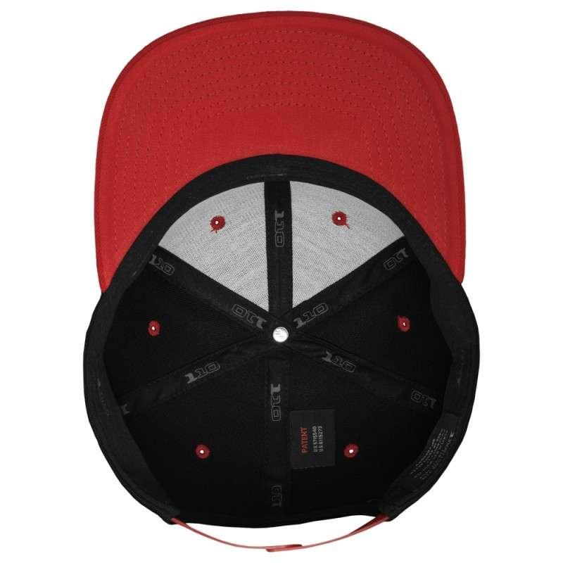 Premium Snapback Cap 110 Schwarz/Rot 6 panneaux, ajustable Ansicht innen
