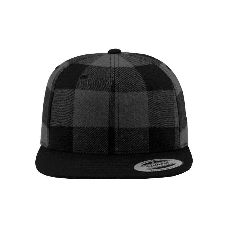 Premium Snapback Cap Flanell Schwarz/Grau 6 panneaux, ajustable Ansicht vorne