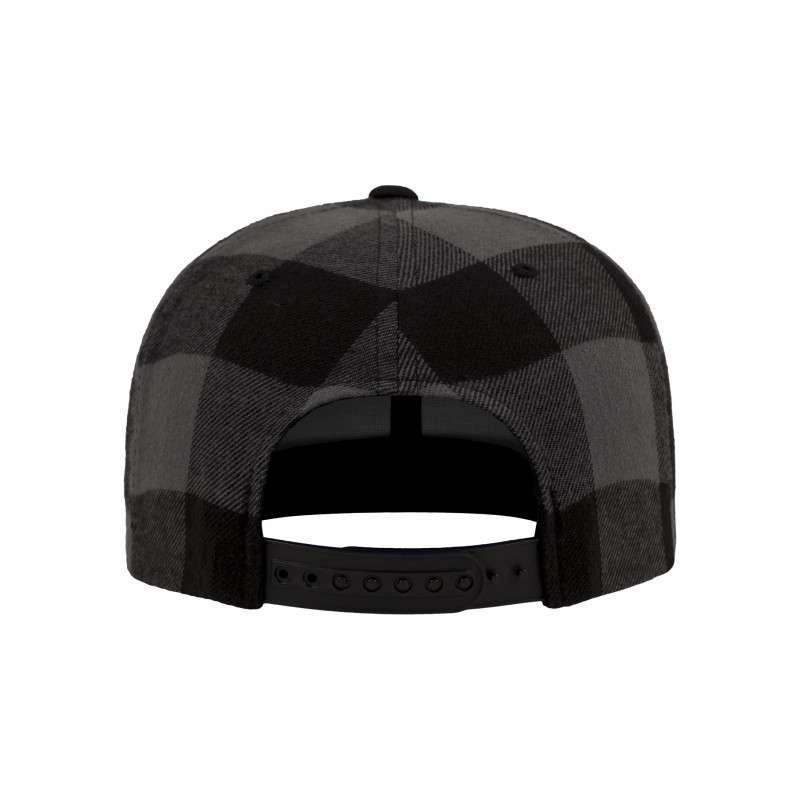 Premium Snapback Cap Flanell Schwarz/Grau 6 panneaux, ajustable Ansicht hinten