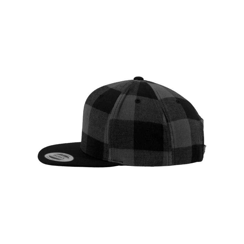 Premium Snapback Cap Flanell Schwarz/Grau 6 panneaux, ajustable Seitenansicht links