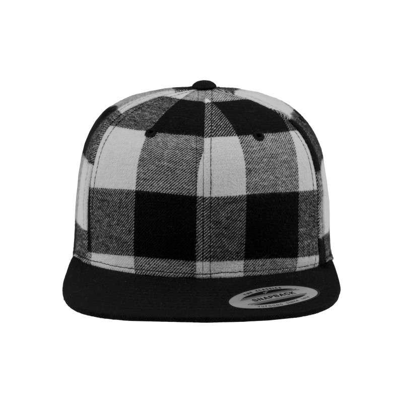 Premium Snapback Cap Flanell Schwarz/Weiss 6 panneaux, ajustable Ansicht vorne
