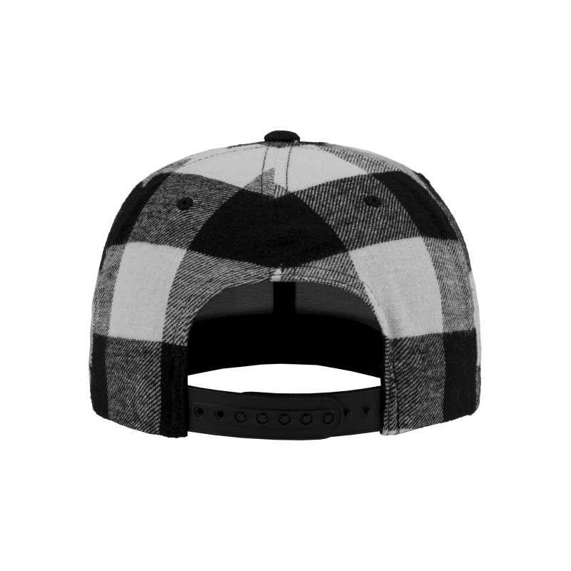Premium Snapback Cap Flanell Schwarz/Weiss 6 panneaux, ajustable Ansicht hinten