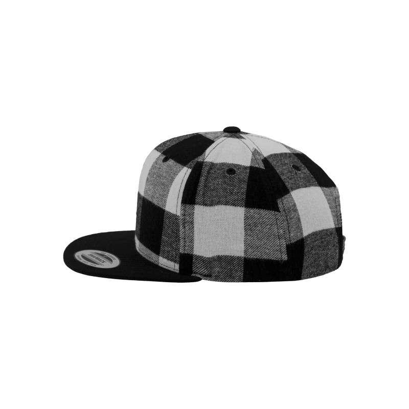Premium Snapback Cap Flanell Schwarz/Weiss 6 panneaux, ajustable Seitenansicht links