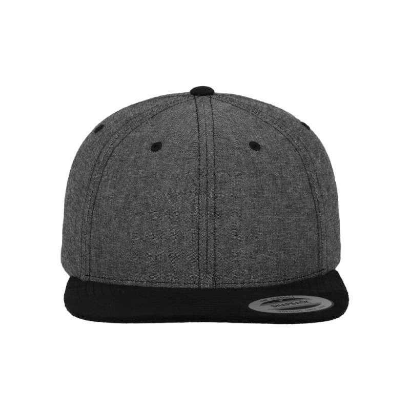 Premium Snapback Cap Grau/Wildleder Schwarz 6 panneaux, ajustable Ansicht vorne
