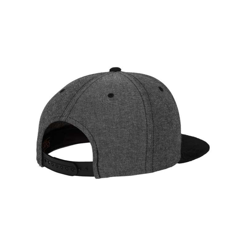 Premium Snapback Cap Grau/Wildleder Schwarz 6 panneaux, ajustable Seitenansicht hinten