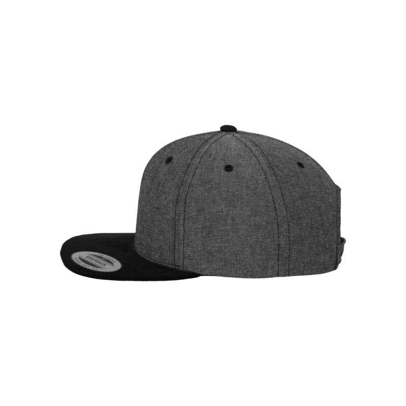 Premium Snapback Cap Grau/Wildleder Schwarz 6 panneaux, ajustable Seitenansicht links