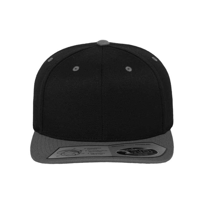 Premium Snapback Cap 110 Schwarz/Grau 6 panneaux, ajustable Ansicht vorne