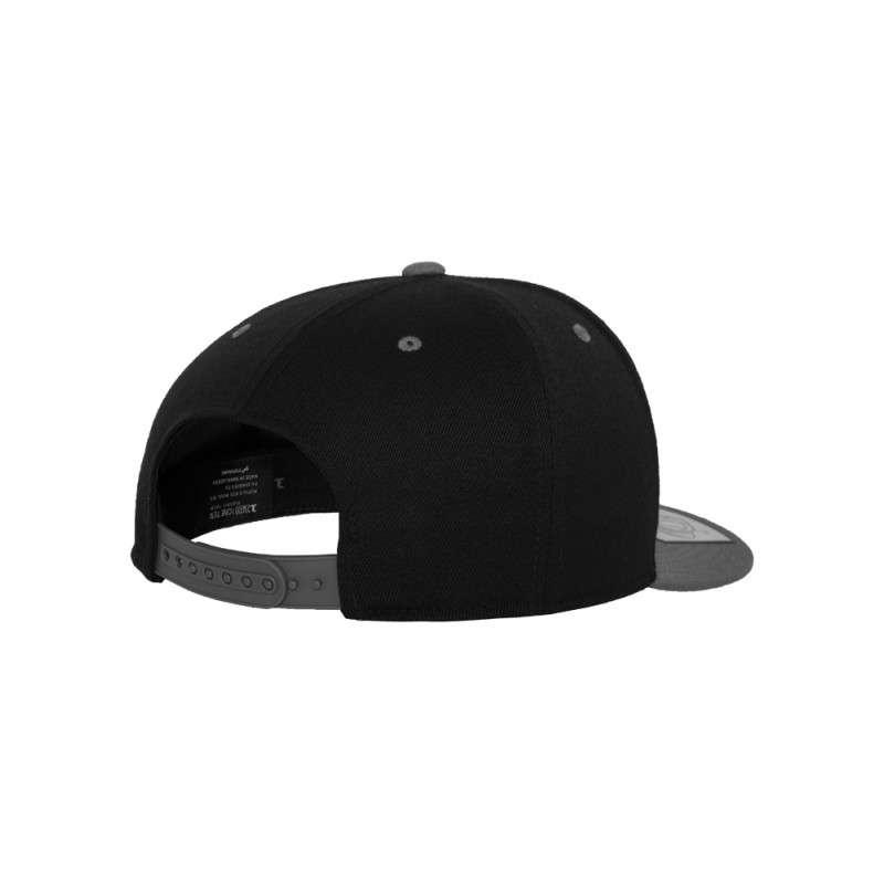 Premium Snapback Cap 110 Schwarz/Grau 6 panneaux, ajustable Seitenansicht hinten