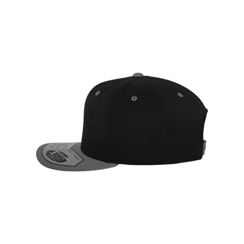 Premium Snapback Cap 110 Schwarz/Grau 6 panneaux, ajustable Seitenansicht links