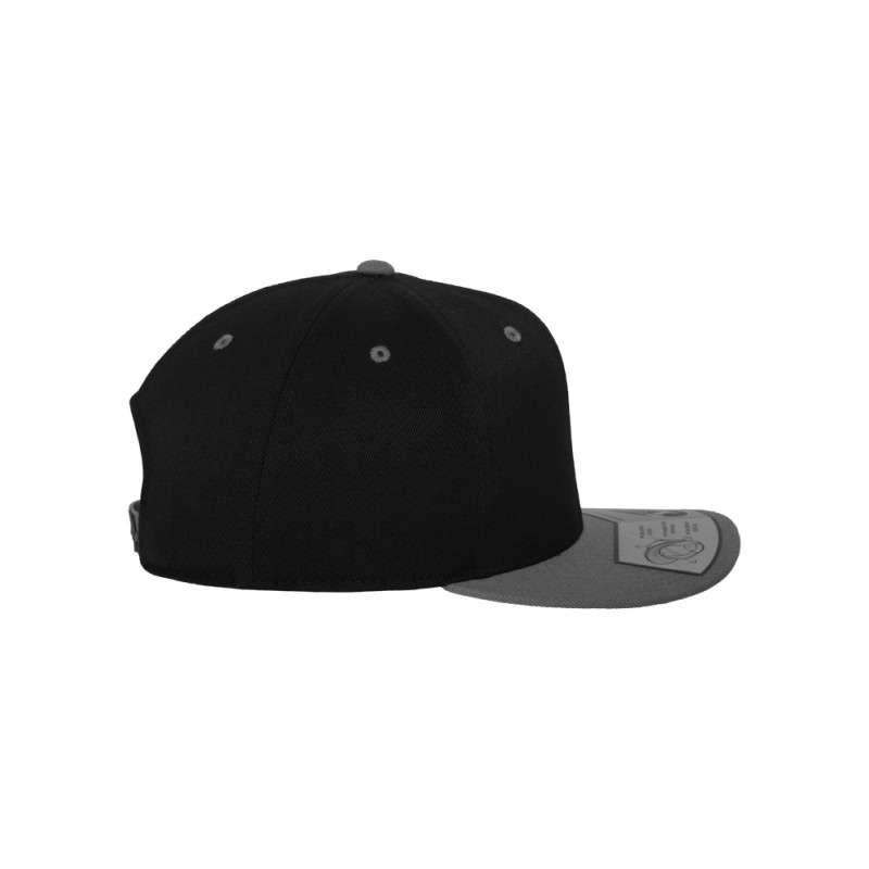 Premium Snapback Cap 110 Schwarz/Grau 6 panneaux, ajustable Seitenansicht rechts