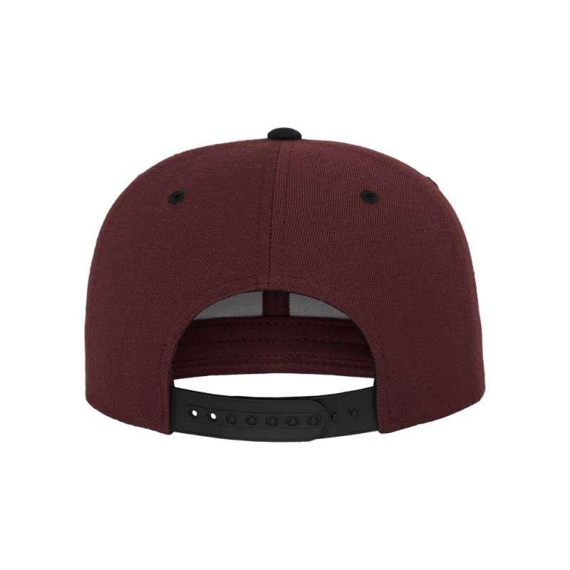 Snapback Cap Classic Dunkelrot/Schwarz 6 panneaux, ajustable Ansicht hinten