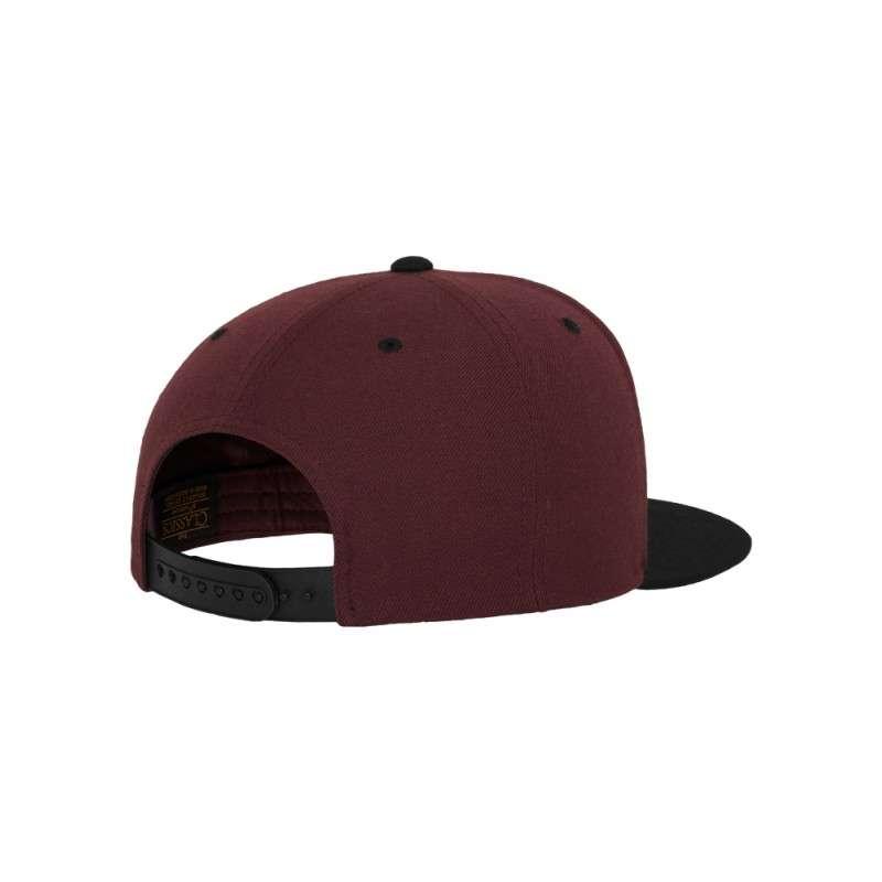 Snapback Cap Classic Dunkelrot/Schwarz 6 panneaux, ajustable Seitenansicht hinten