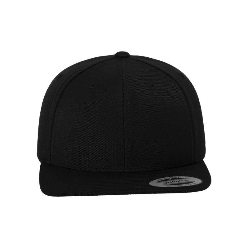 Snapback Cap Classic Schwarz 6 panneaux, ajustable Ansicht vorne